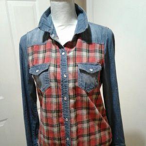 🌺 Vanilla Star Faded Denim & Flannel Shirt EUC